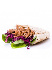 Half pita bread with pulled pork and red cabbage salad