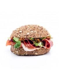 Lactose-free multi-grain bun serranoham