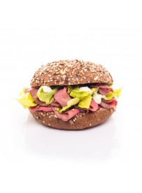 Multi-grain bun with roast beef and herb dip