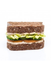 American sandwich with Baba Ganoush, cucumber and tomato (halal)