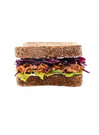 American sandwich with pulled pork and red cabbage