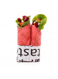 Beet wrap with smokey salmon, lemon pepper and avocado